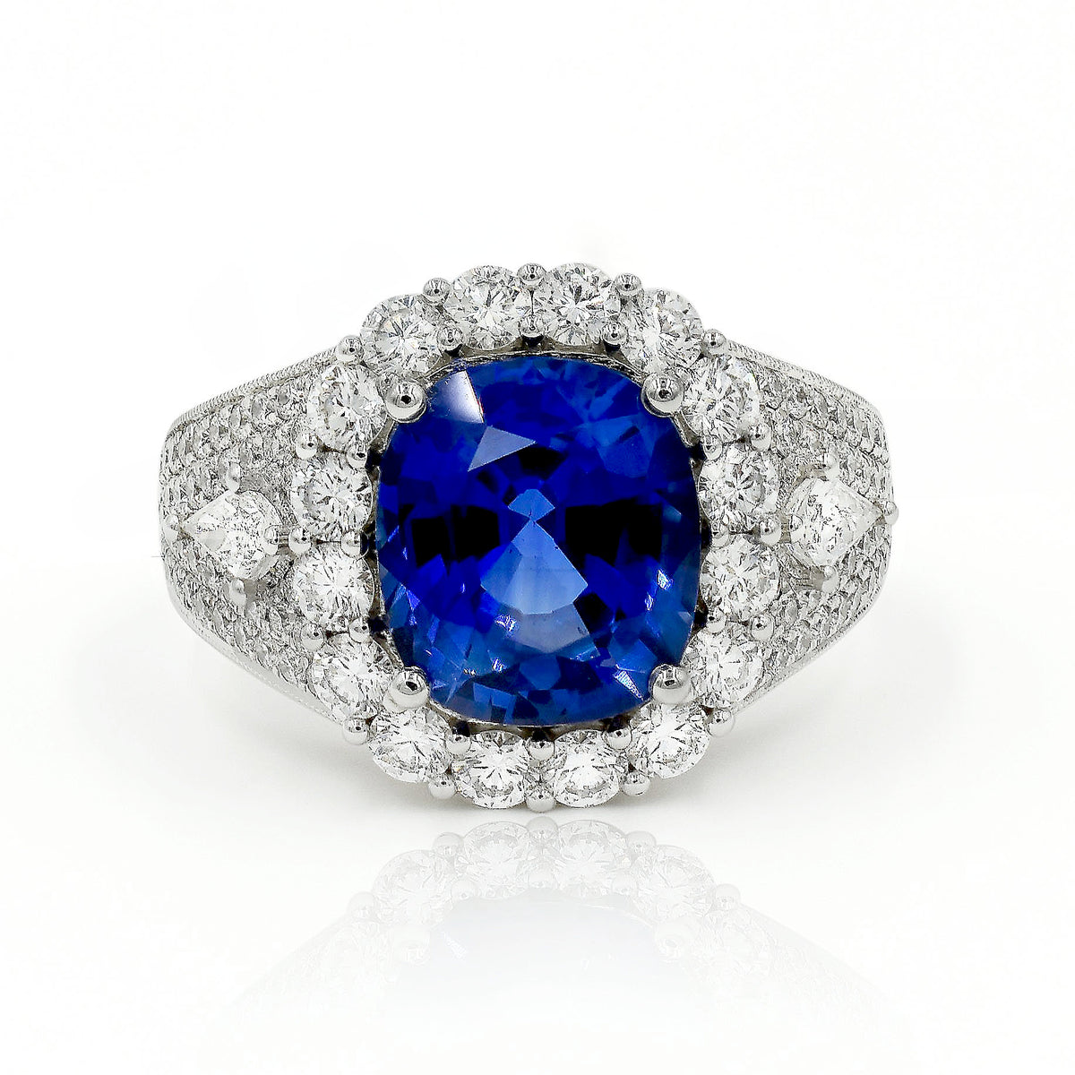 Simon G 18K White Gold 4.14ct Sapphire and Diamond Ring