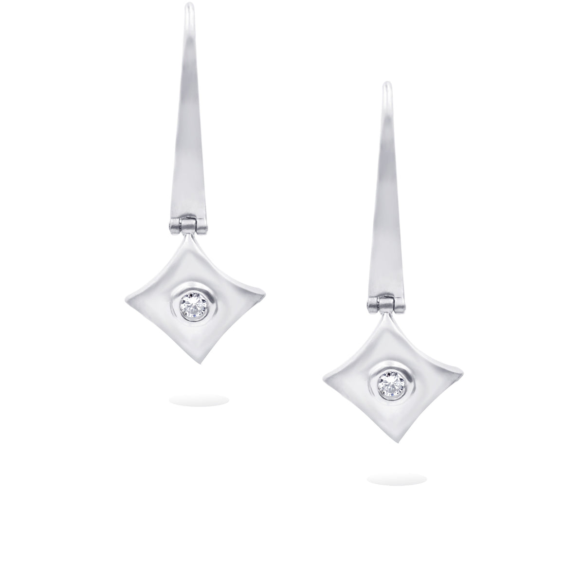 14K White Gold Satin Finish Geometric Diamond Earrings