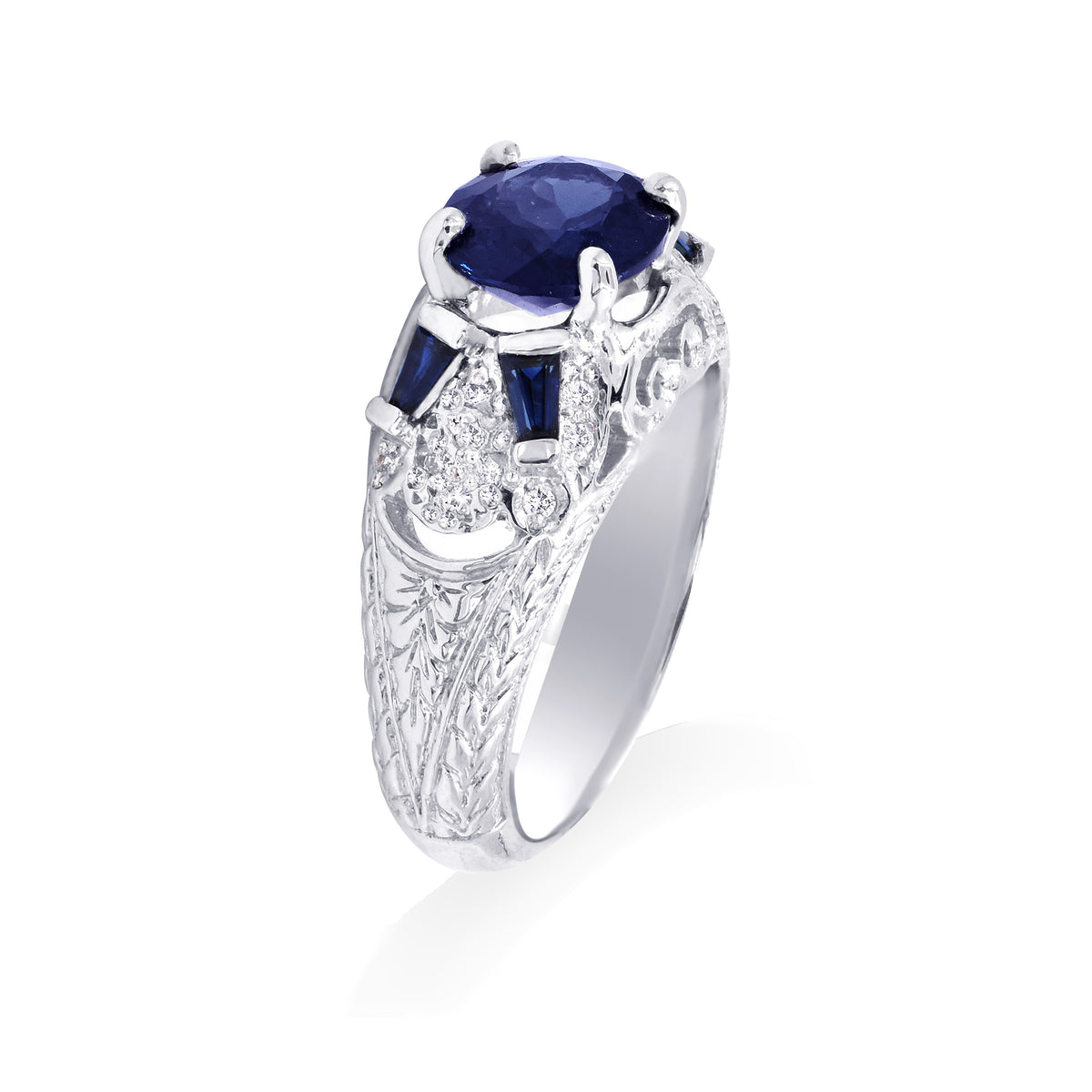 Platinum Vintage Style Spinel and Sapphire Ring
