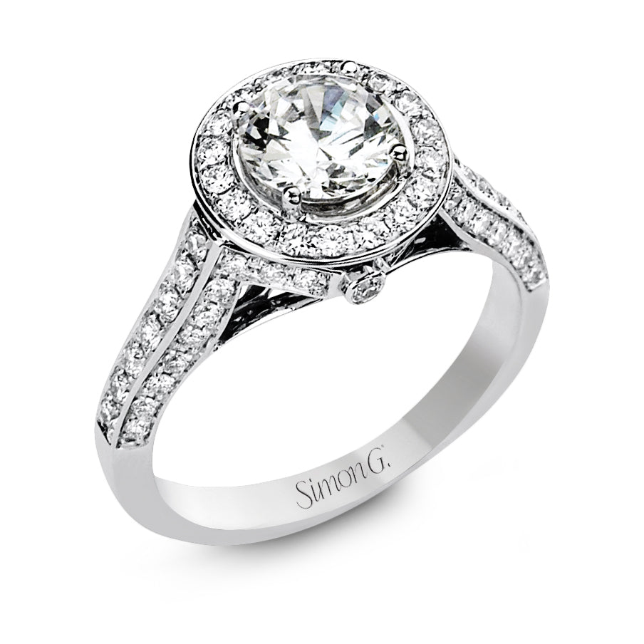 Simon G 18K White Gold Diamond Engagement Ring