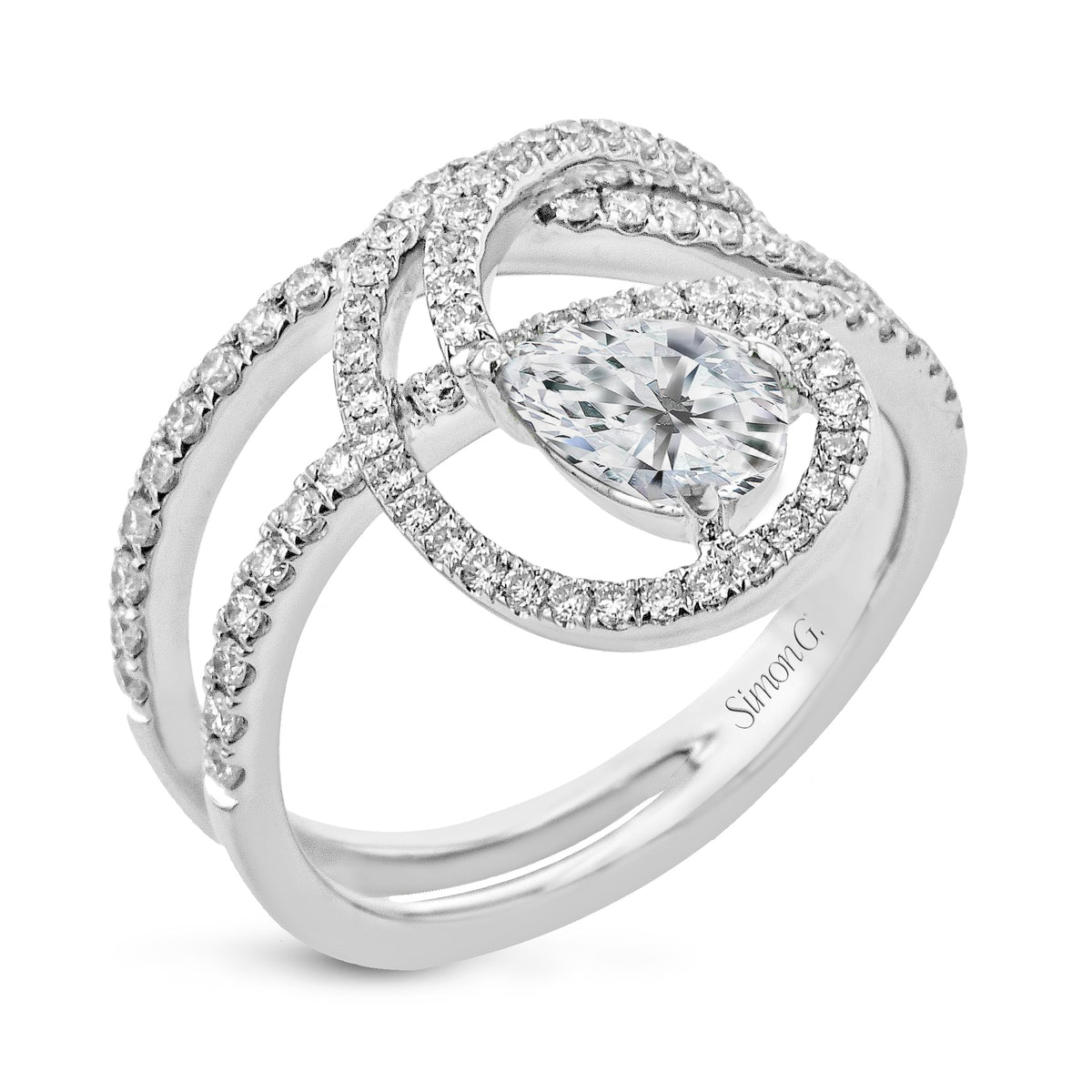 Simon G 18K White Gold Pear Shape Diamond Ring