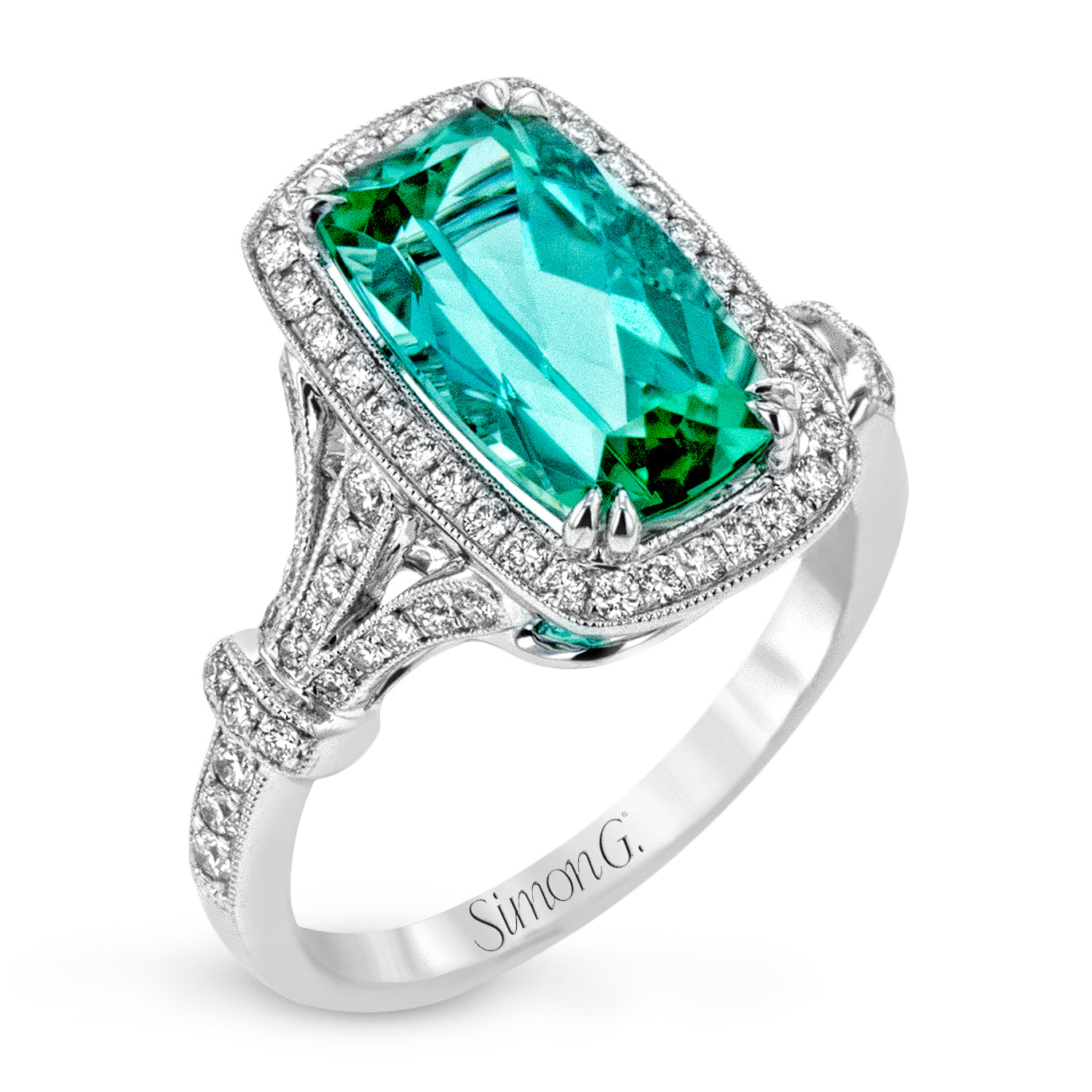 "Simon G ""Rare"" Mint Green Tourmaline Ring"