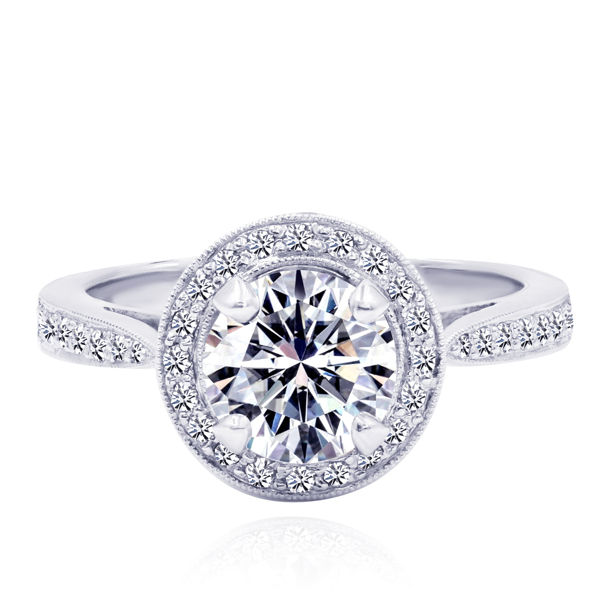 18K White Gold Diamond Halo Ring with Round Brilliant Cut Center