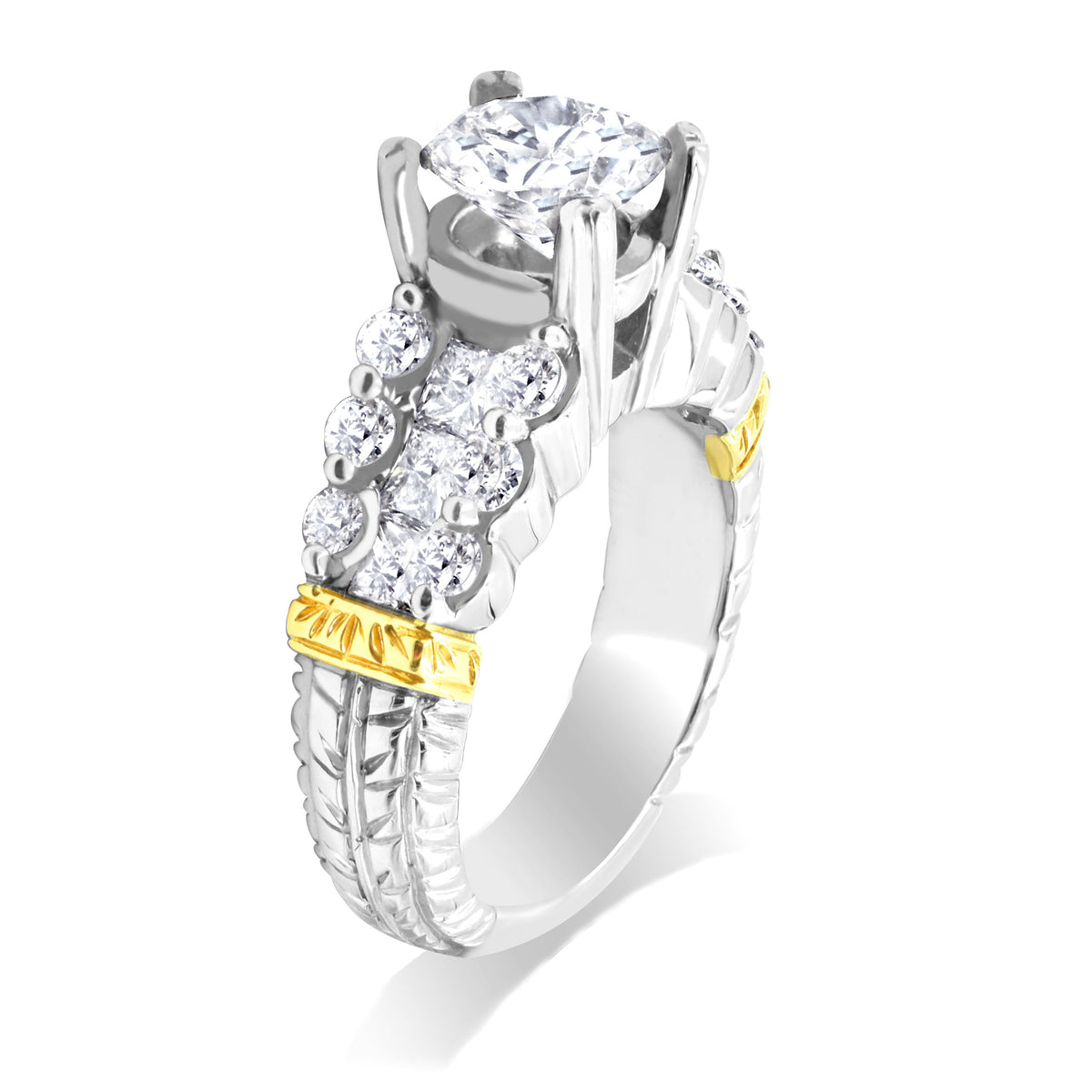 Platinum and 18K Yellow Gold Diamond Ring Mounting