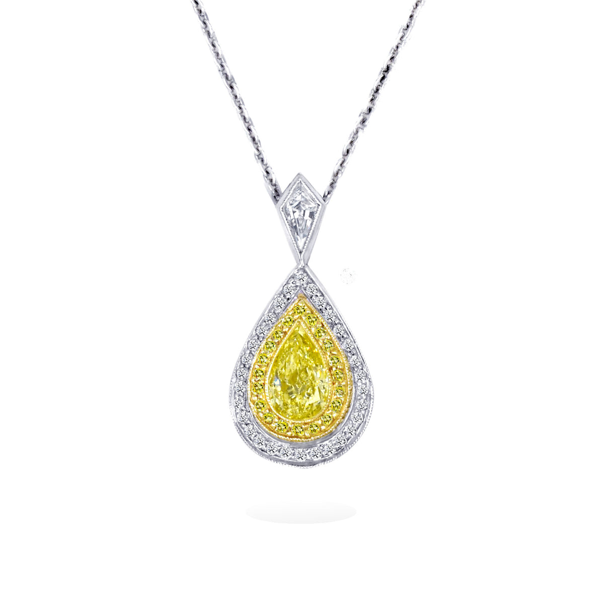 JB Star Platinum and 18K Yellow Gold Pear Shaped Pendant with a Yellow Diamond