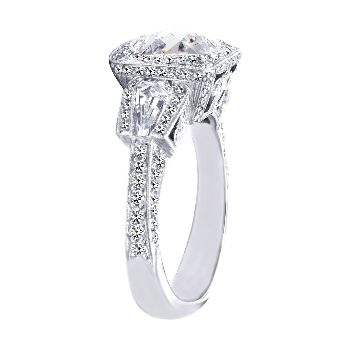 JB Star Platinum Round Brilliant Cut Diamond Ring with a Cushion Halo