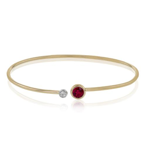 Simon G 18K Rose Gold Diamond and Ruby Bangle