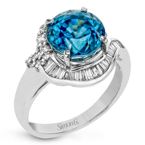 Simon G Platinum Blue Zircon and Diamond Ring