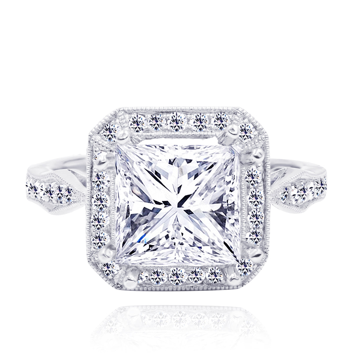 18K Two Tone Square Diamond Halo Ring Mounting