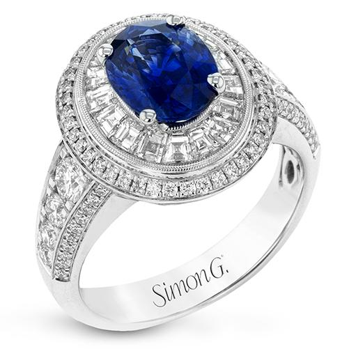 Simon G 18K White Gold Sapphire and Diamond Ring
