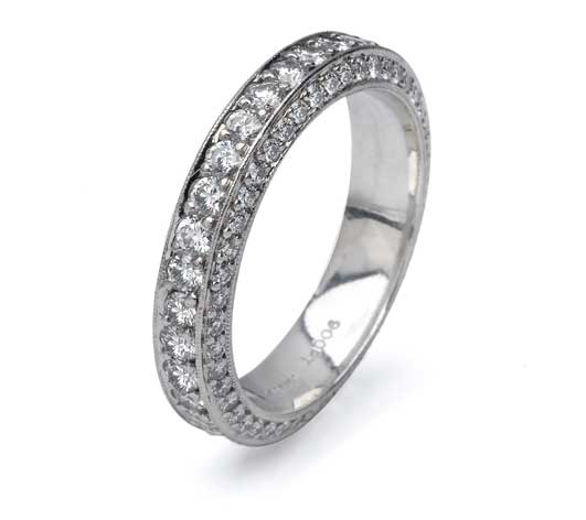 Beaudry Platinum Beautique Three Sided Pave Eternity Band