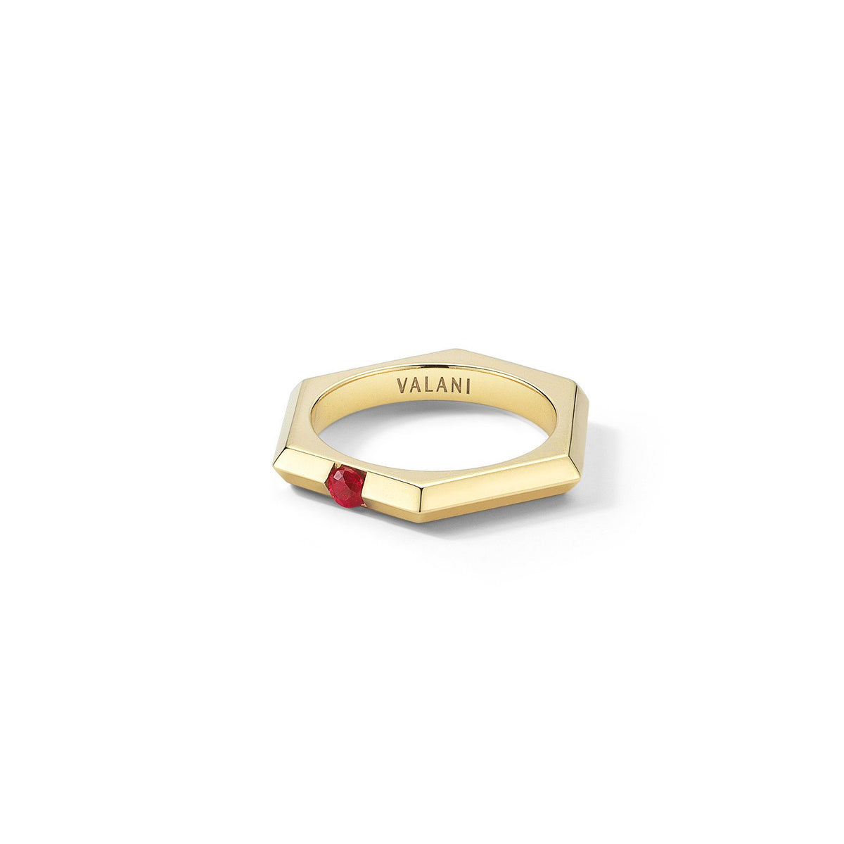 Valani 18K Yellow Gold Hexa I Ruby Ring