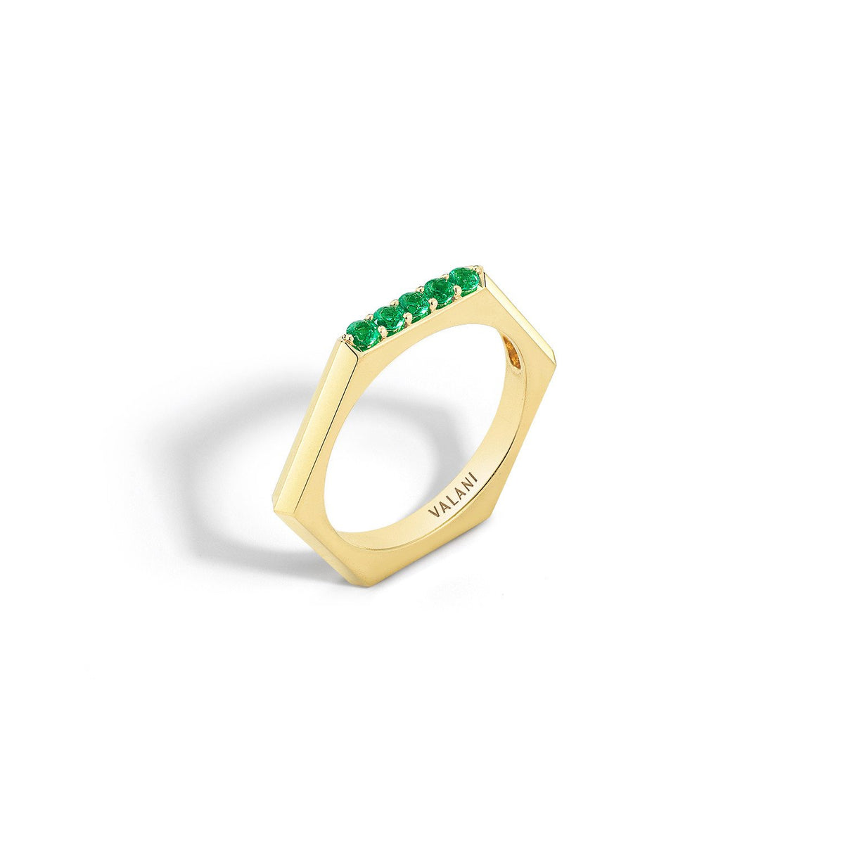 Valani 18K Yellow Gold Hexa V Emerald Ring