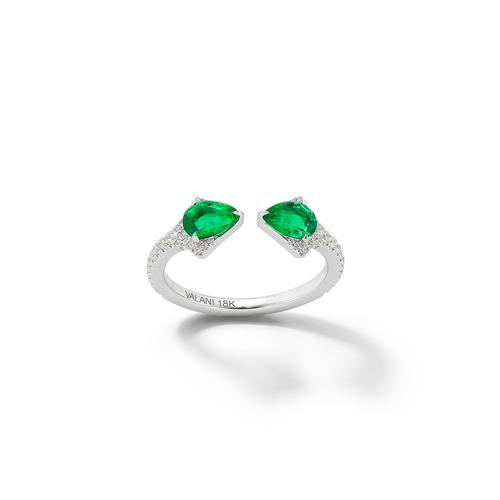 Valani 18K White Gold Rival Emerald Two Stone Ring