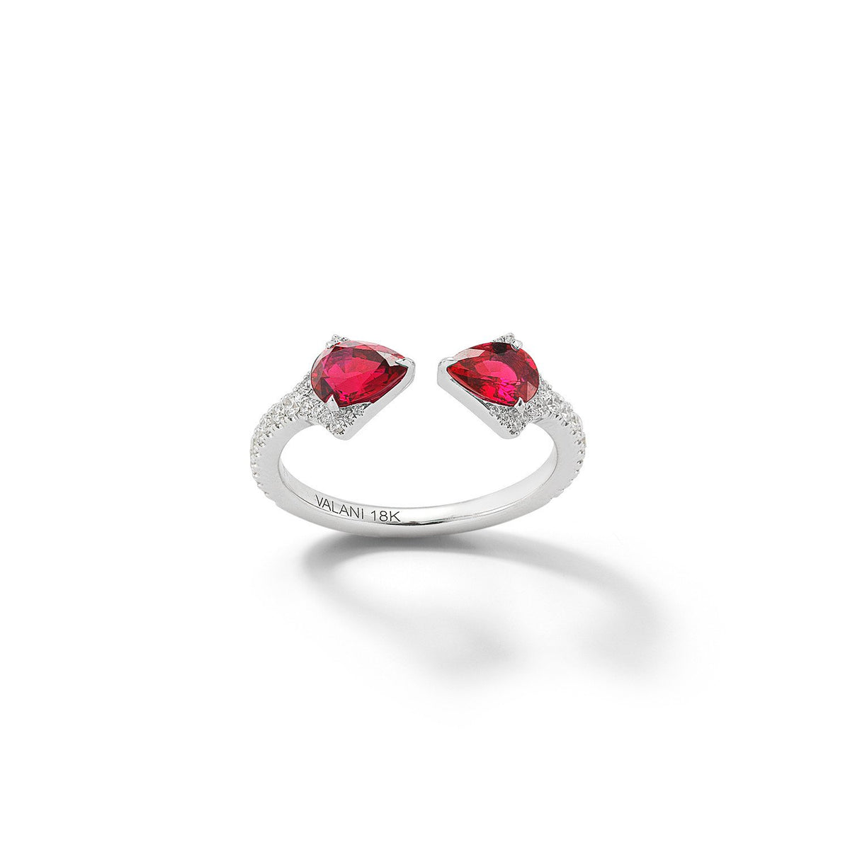 Valani 18K White Gold Rival Ruby Two Stone Ring