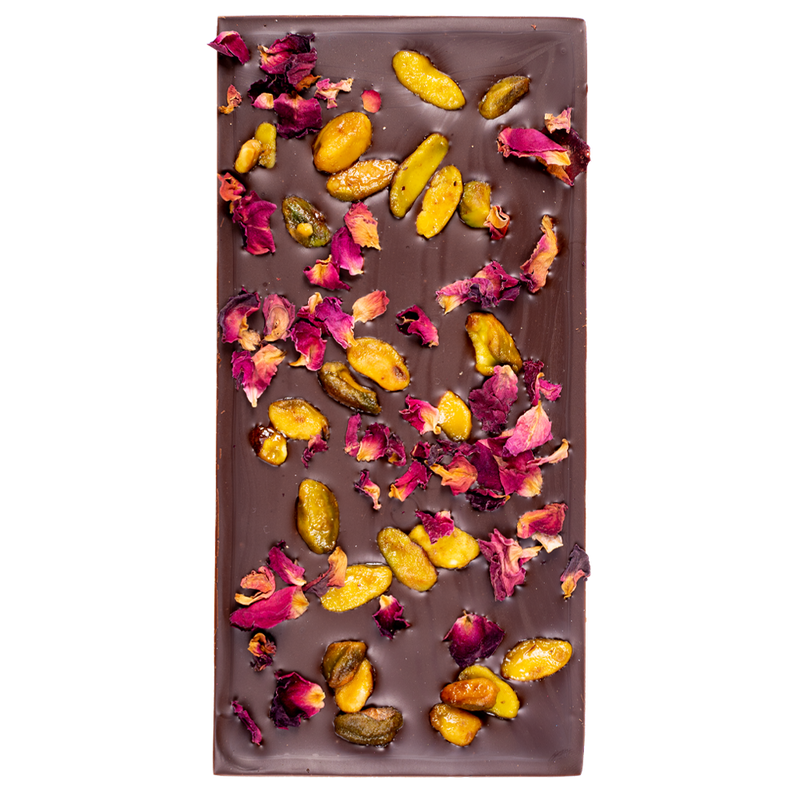 Dark Chocolate Pistachio Rose Block
