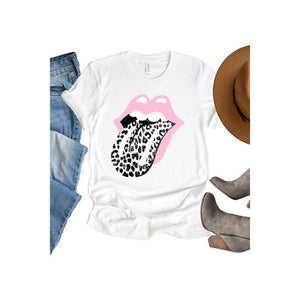 Leopard and Lips Tee - Black/White/Pink