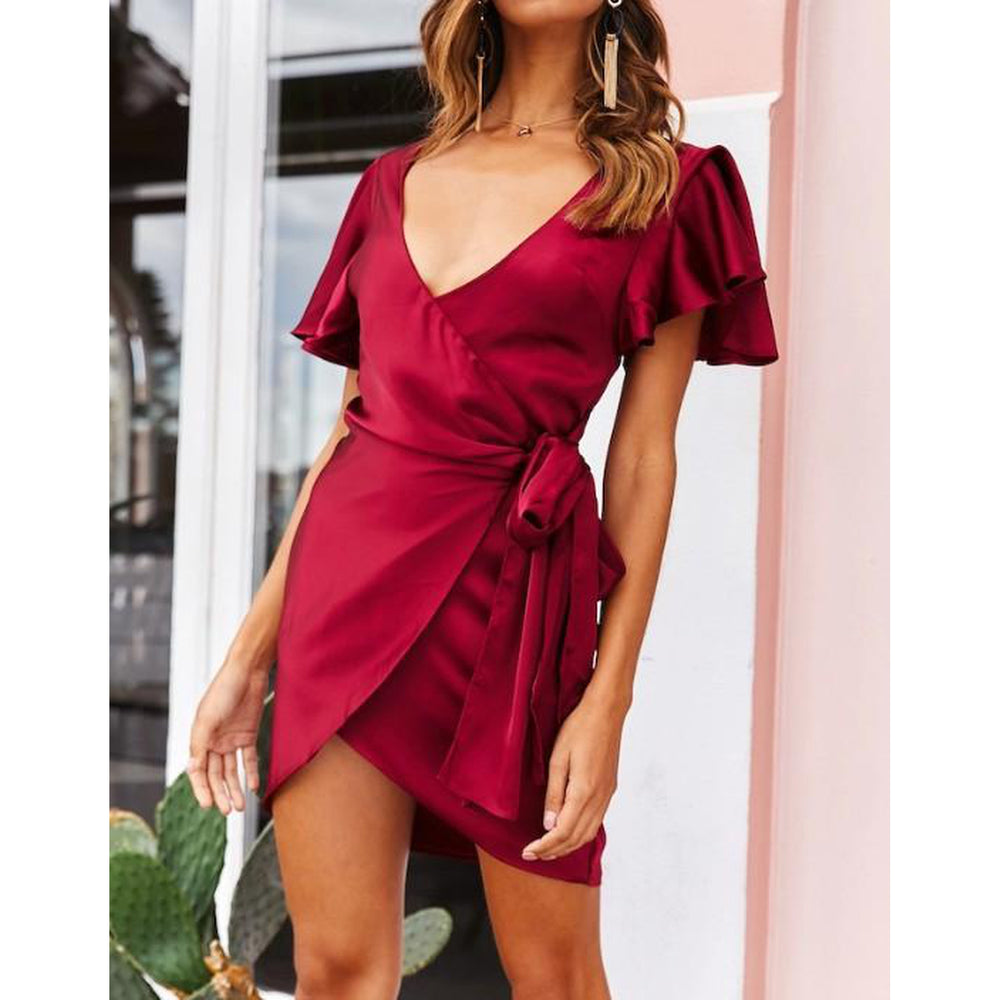Satin Wrap Mini Dress - Wine