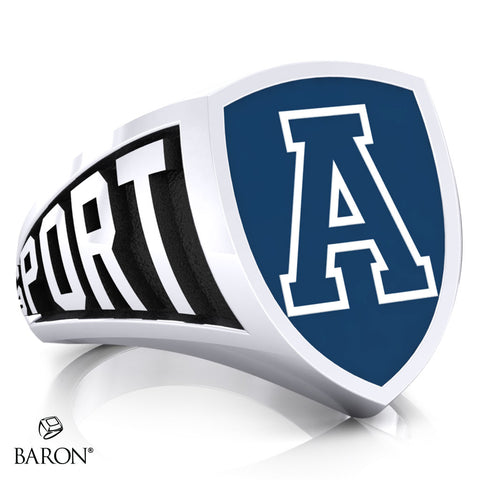 Aquinas High School Athletic Shield Signet Class Ring (Durlium, Sterling Silver, 10kt White Gold)