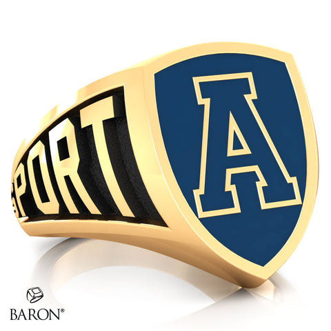 Aquinas High School Athletic Shield Class Ring (Gold Durilium, 10kt Yellow Gold)
