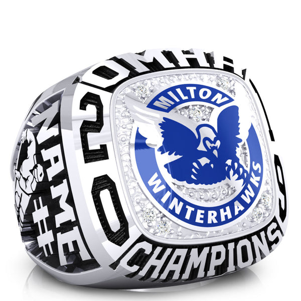 Milton PeeWee AE White Winterhawks - OMHA Ring - Design 1.1