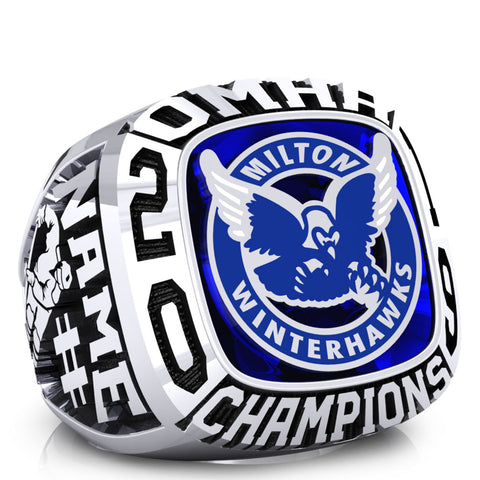 Milton PeeWee AE White Winterhawks - OMHA Ring - Design 1.2