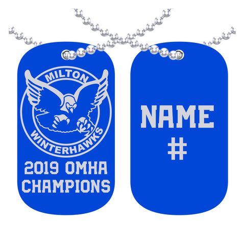 Milton PeeWee AE White Winterhawks - OMHA Dog Tags