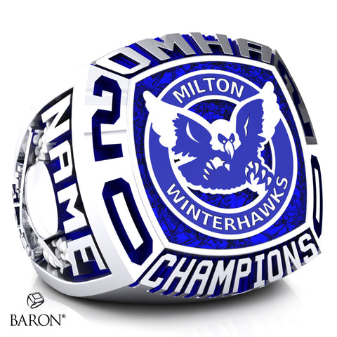 Milton Winterhawks Minor Atom AE Championship Ring - Design 2.2