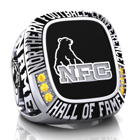 NFC Hall of Fame North Bay BullDogs Ring (Black Enamel)
