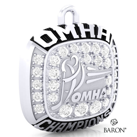 Championship OMHA Ring Top Pendant with Cubics - Design 1.5 (CHAMPIONS)