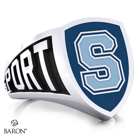 Sheridan College Athletic Shield Signet Class Ring (Durlium, Sterling Silver, 10kt White Gold) - Design 3.1