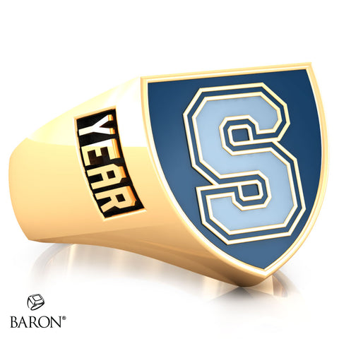 Sheridan College Crest Shield Signet Class Ring (Gold Durilium, 10kt Yellow Gold) - Design 4.2