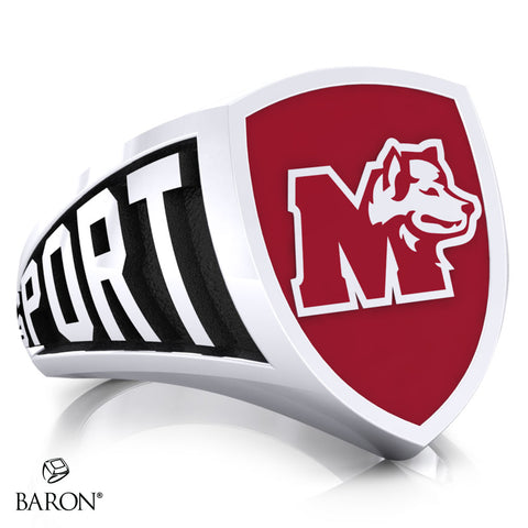 St. Mary's Huskies Athletic Shield Signet Class Ring (Durlium, Sterling Silver, 10kt White Gold) - Design 3.1