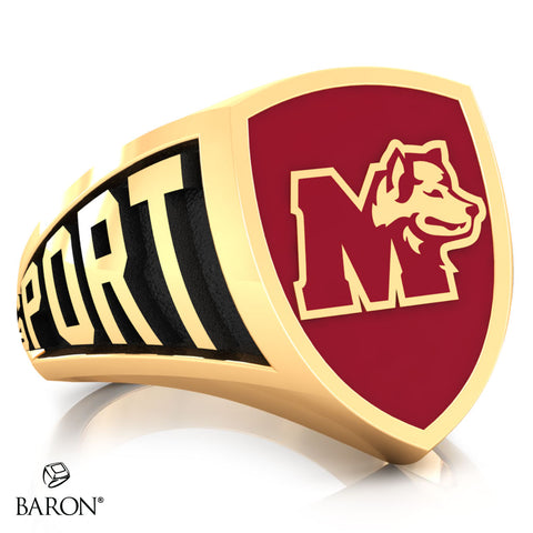 St. Mary's Huskies Athletic Shield Class Ring (Gold Durilium, 10kt Yellow Gold) - Design 3.2