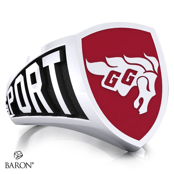 University of Ottawa Athletic Shield Signet Class Ring (Durlium, Sterling Silver, 10kt White Gold) - Design 3.1
