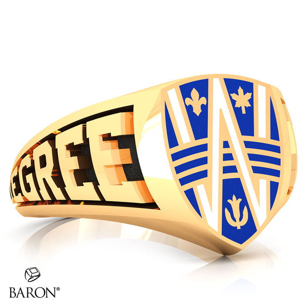University of Windsor Crest Shield Signet Class Ring (Gold Durilium, 10kt Yellow Gold)