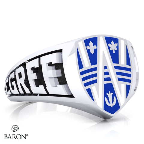 University of Windsor Crest Shield Signet Class Ring (Large) (Durilium, Sterling Silver, 10kt White Gold)