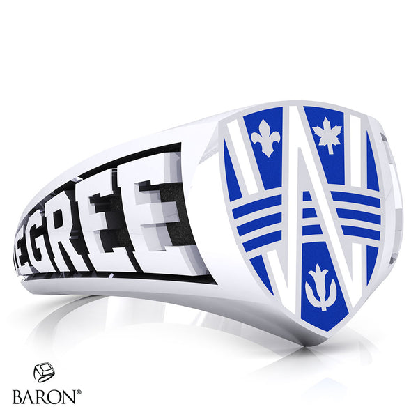 University of Windsor Crest Shield Signet Class Ring (Durilium, Sterling Silver, 10kt White Gold)
