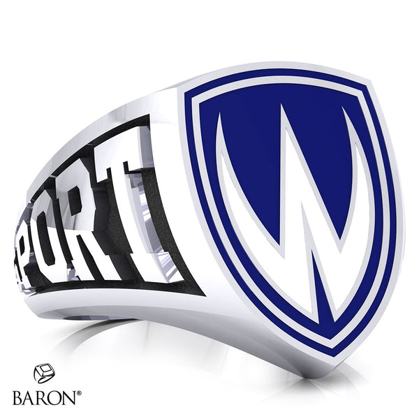 University of Windsor Athletic Shield Signet Class Ring (Durlium, Sterling Silver, 10kt White Gold)