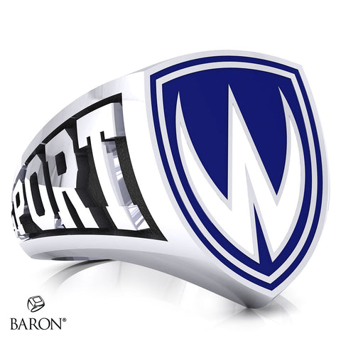 University of Windsor Athletic Shield Signet Class Ring (Durilium, Sterling Silver, 10kt White Gold)