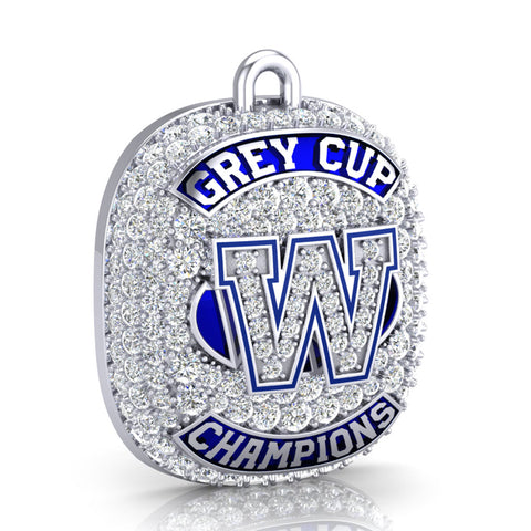 Winnipeg Blue Bombers -1990 Grey Cup Commemorative Ring Top Pendant - Design 1.14 (Durilium / 6KT Gold / 10KT Gold)