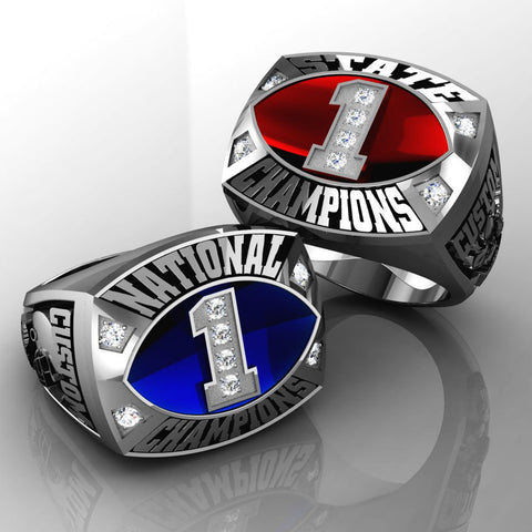 Championship Football Ring with Glass Enamel