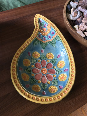 Beautiful one-of-a-kind Paisley large serving bowl by Laurel Herbert