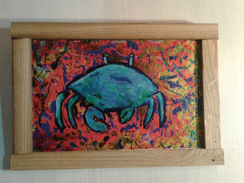 Chaotic aquatic series crab  12x19 framed ready to hangframed print