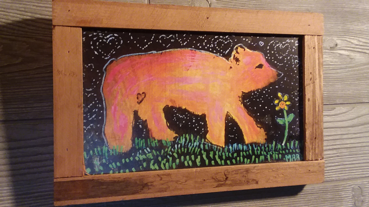 8x12 framed little love bear print