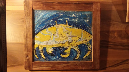 Mixed media original wrightsville crab map 19x16