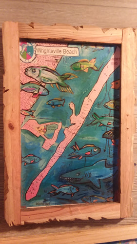 Wrightsville  beach map art  shark bite print  hand  built  frame