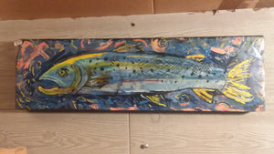 Original fish painting by Mark 7x24""