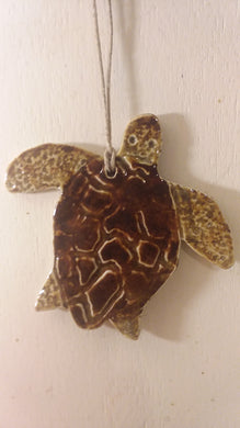 Ceramic sea turtle ornament by Aj keesee
