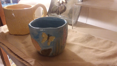 Beautiful butterfly garden 8 ounce hand made cup